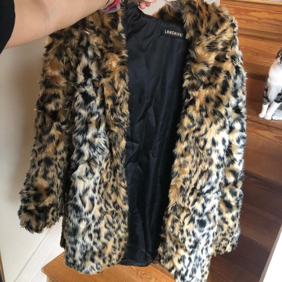 d74e253b3c65 lanshifei Jackets & Coats | Leopard Cheetah Fauxfake Fur Coat With ...